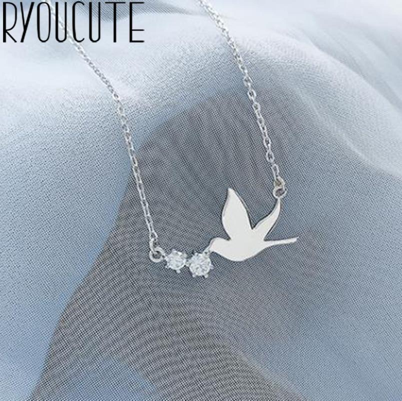 Punk Vintage Silver Color Swallow Necklaces Pendants For Women Gifts Statement Necklaces Colar 2019