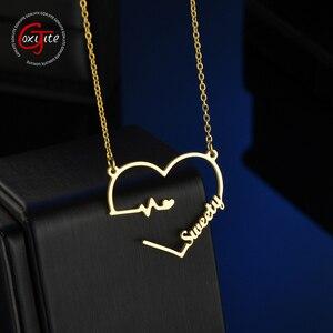 Goxijite Custom Name Heart Necklace For Women Stainless Steel Heart Beat Nameplate Pendant Necklace Lover Gift