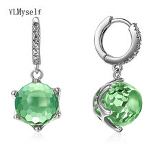 Серьги подвески с Зелеными камнями Женские Ювелирные изделия