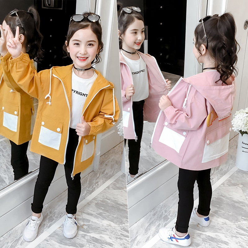 Special Offer Girls Casual   Trench   Coat Spring Autumn New Children's Long Windbreaker Outerwear Kids Hooded Jacket Overcoat B262