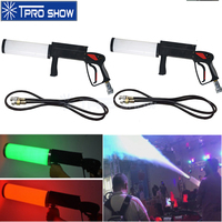 2Pcs DJ Gun CO2 Cannon Handheld Co2 Pistola Cryo Effect Machine RGB Colors Change Battery Powered LED Jet Pistol For Disco Club