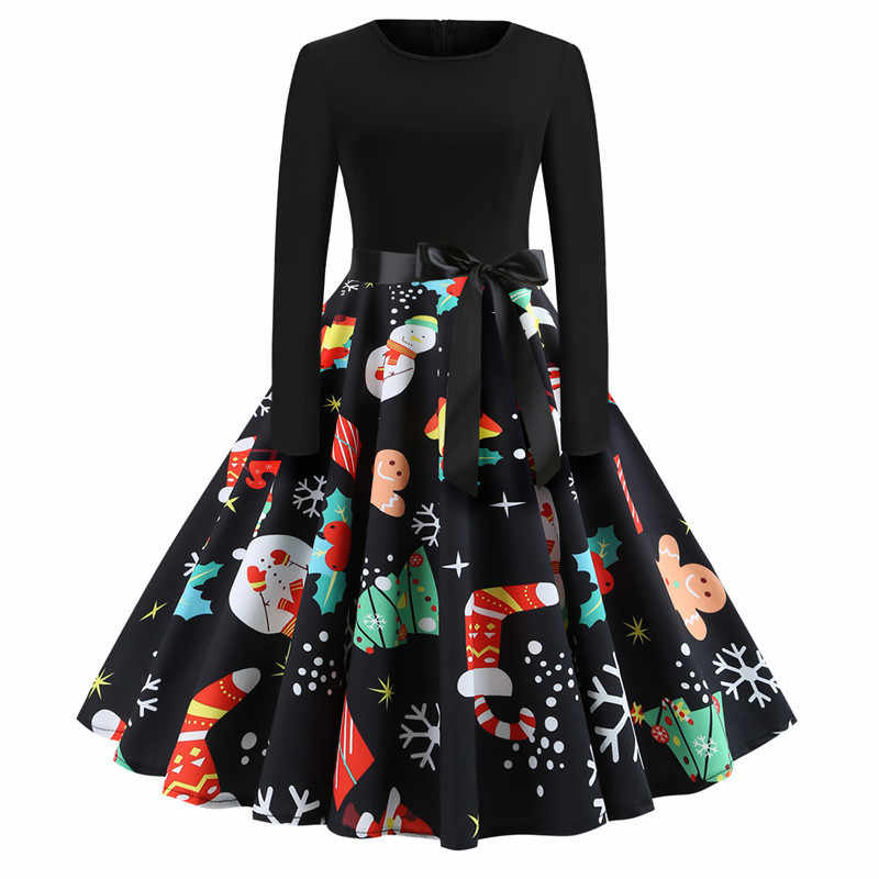 Retro Vintage Christmas Dress Women Autumn Winter O-neck Long Sleeve Large Dresses New Year Party Dress Female Dresses
