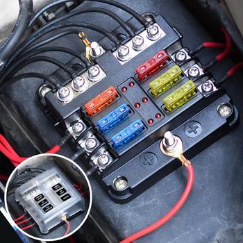 Caja de fusibles automotriz con soporte para aspas LED de 6 vías de 12V/24V, caja de bloque con negativo para Auto, coche, barco, triciclo marino