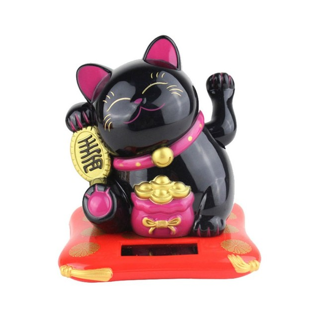 Solar Powered Ceramic Lucky Cat Maneki Neko Shaking Arm Beckoning Fortune Cat Home Car Decoration Gift Wealth Waving Arm Cat 6
