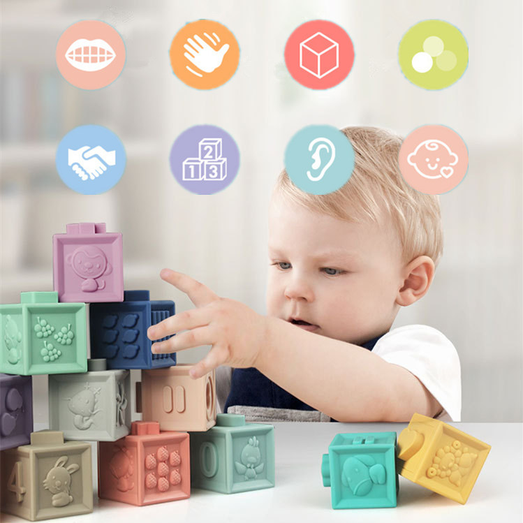 New 12pcs/set Baby Grasp Toy Building Blocks 3D Touch Hand Soft Balls Baby Massage Rubber Teethers Squeeze Toy Bath Ball Toys