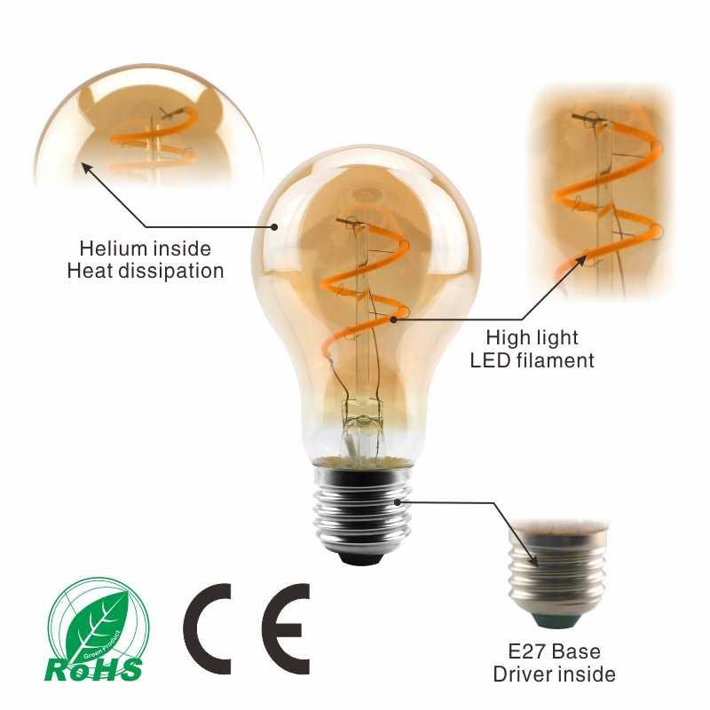 Espiral Retro Luz LED Filamento da Lâmpada 220V A60 ST64 G125 G95 G80 T45 T185 4W 2200K Regulável lâmpadas Para A Iluminação Decorativa do vintage