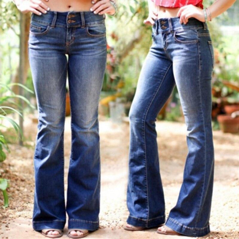 Fashion Denim Flare Jeans Women Mid Waist Retro Jeans Wide Leg Trousers Lady Casual Bell Bottom Jeans Flare Pant Plus Size 4XL