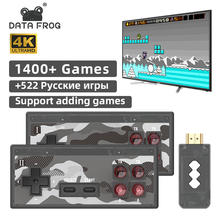Dados sapo mini 4k vídeo game console jogadores duplos e retro construir em 1400 + nes jogos sem fio controlador hd/av saída prefixo