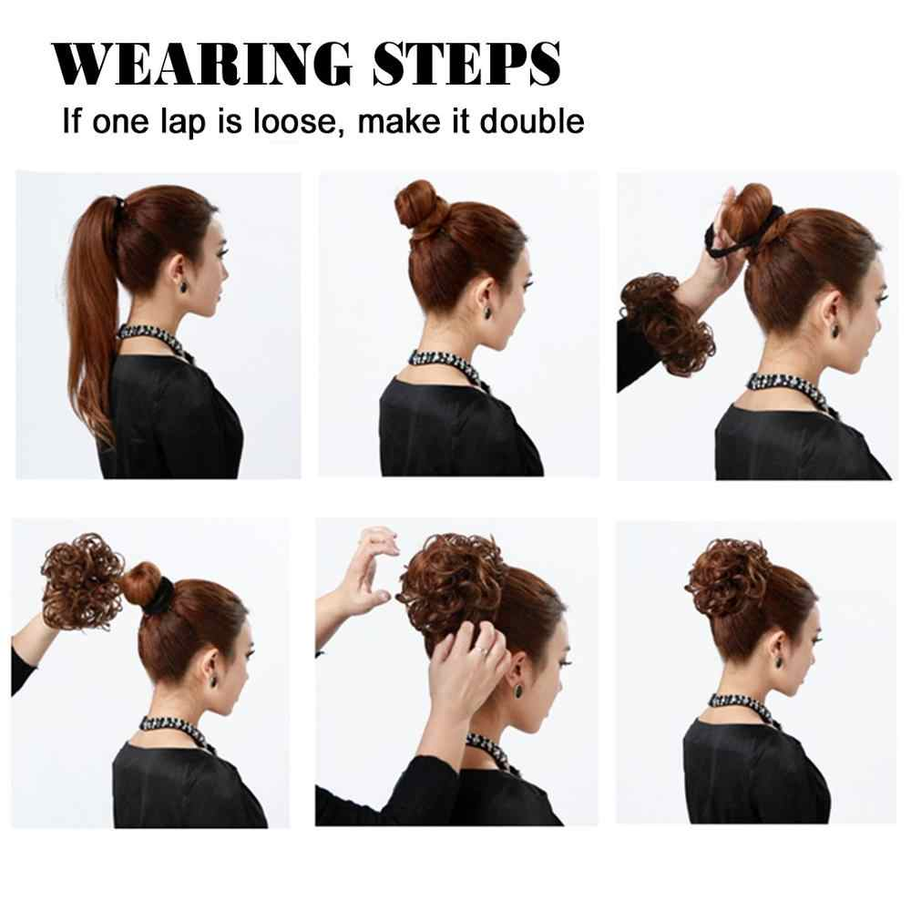 Moño de pelo desmotado, extensiones de cabello, peluca sintética, anillo envolvente, moño para mujeres, negro, marrón, fibra de alta temperatura