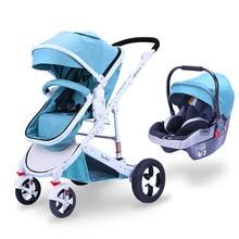 Детская коляска 3 в 1 с автомобильным сиденьем красивый пейзаж для детей коляска новорожденное автомобильное сиденье Колыбель дорожная система коляска и автомобильное сиденье