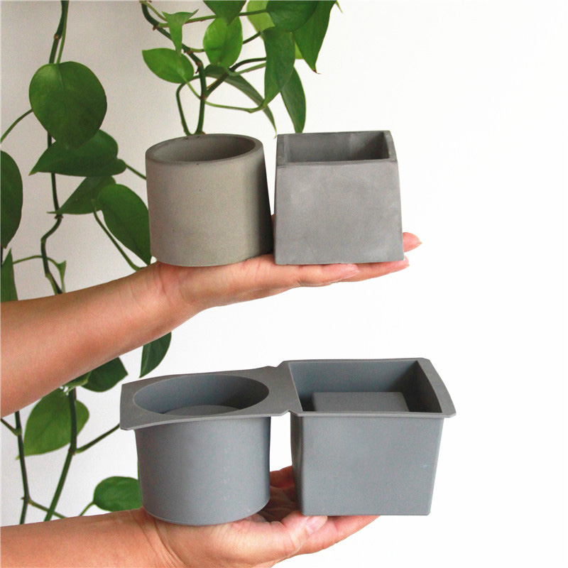 Creative Square Round Flower Pot Concrete Molds DIY Plaster Silicone Molds For Succulent Plants Cement Clay Crafts Mould