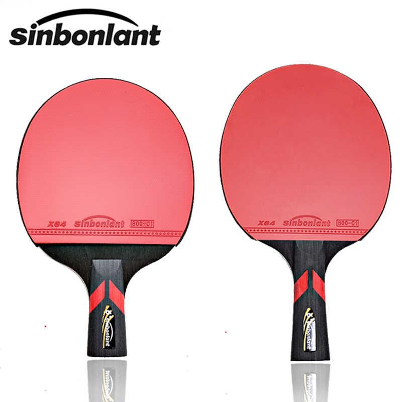Raqueta de tenis de ping pong con mango largo, mango corto de goma de carbono con doble cara, espinillas en raqueta de ping pong con funda
