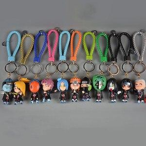 Cartoon Anime Naruto Keychain Cute Sasuke Naruto Sakura Kakashi Gaara Itachi Doll Keyring Women Bag Pendant Trinkets Porte Clef