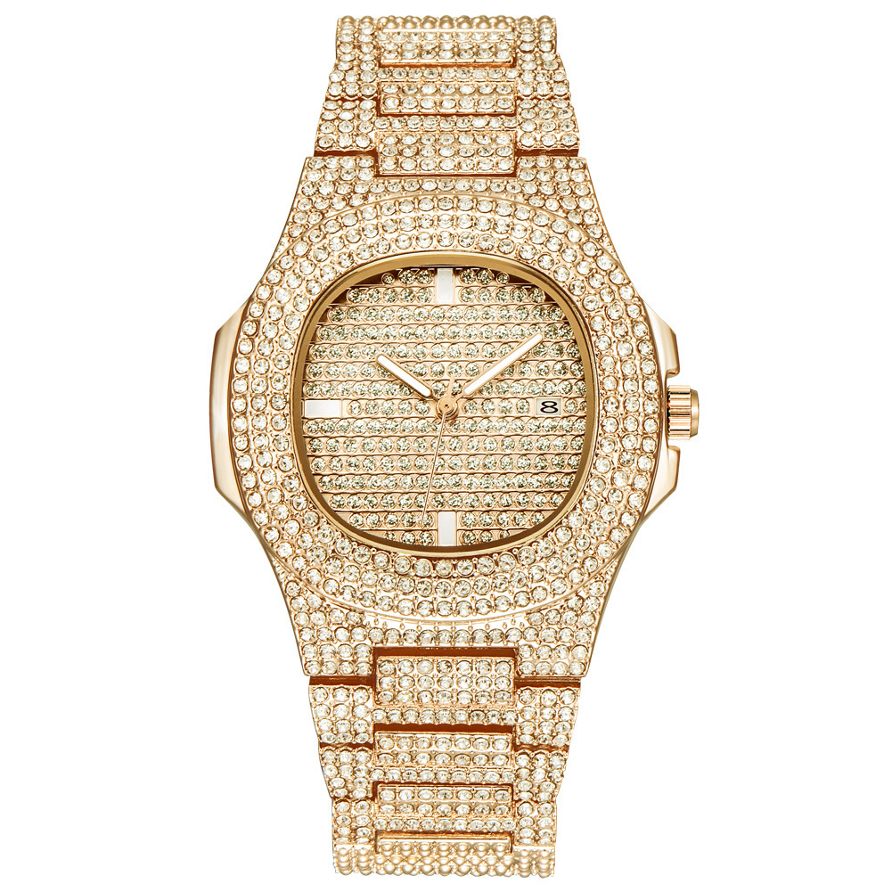 Women Wrist Watch Rose Gold Luxury Rhinestone Business Gifts Diamond Bling Calendar Oval Case  Casual Metal Fashion
