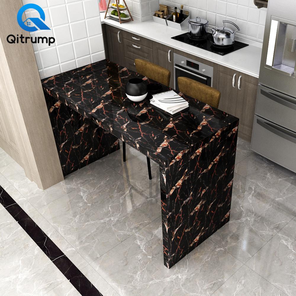 Waterproof Oil-proof Marble Self Adhesive Wallpaper Vinyl Film Wall Stickers Bathroom Bedroom Kitchen Cupboard Home Improvement 4