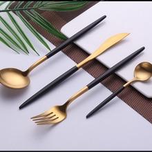 Black Gold Dinnerware Set Stainless Steel Silverware Cutlery Western Food Fork Knife Spoon Dessert Kitchen Dinner Food Tableware цена и фото