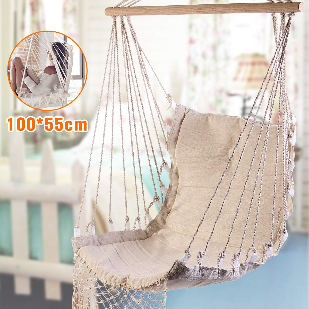 100x55cm Deluxe Hanging Hammock Swing Garden Indoor Outdoor Camping Hanging Chair With Wooden Rod