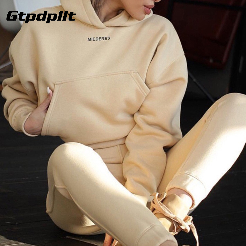 Gtpdpllt casual winter hoodie two piece set women tracksuit long sleeve print shirt tops and pants two piece set outfits 2020