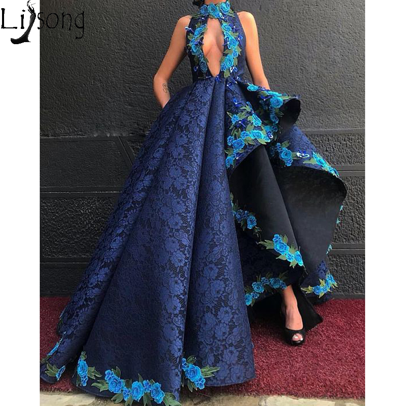 Navy Blue Asymmetrical   Prom     Dress   High Neck Lace Embroidery Unique Evening   Dress   Special Occasion Pageant Gowns Zipper Back
