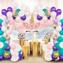 Unicorn doğum günü partisi malzemeleri süslemeleri gökkuşağı ünikorn parti zemin fotoğraf arka plan kızlar için küçük prenses doğum günü