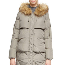 Women Thickened Mid-Long Down Jacket with Removable Fur Hood