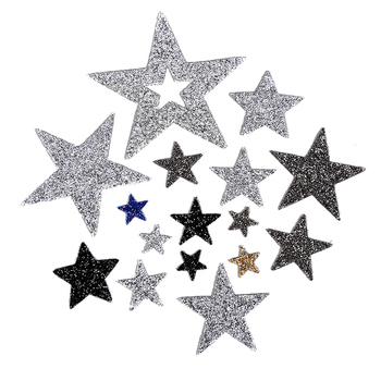 Coloured Sparkling Rhinestone Five-pointed Star Tassel Clothes  Sequins with glue Patches For Clothe Applique Iron-on sticker G