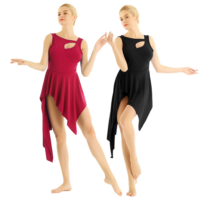 TiaoBug Women Dance Wear Asymmetrical Hem Gymnastics Leotard Ballet Tango Latin Dress Stage Performance Figure Skating Costume