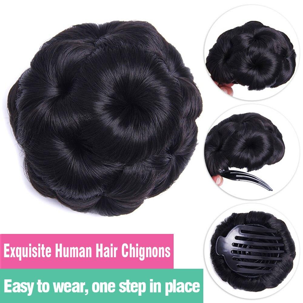 cabelo humano chignon 99j marrom escuro preto
