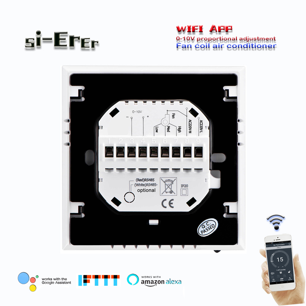 24VAC,AC95~240V Wifi Thermostat With Regulated 0-10V,2pipe Cooling Or Heating With 3speed Fan Control