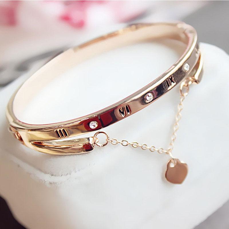 Luxury Rose Gold Stainless Steel Bracelets Bangles Female Heart Forever Love Charm Bracelet For Woman Couple Gift Bijoux Femme
