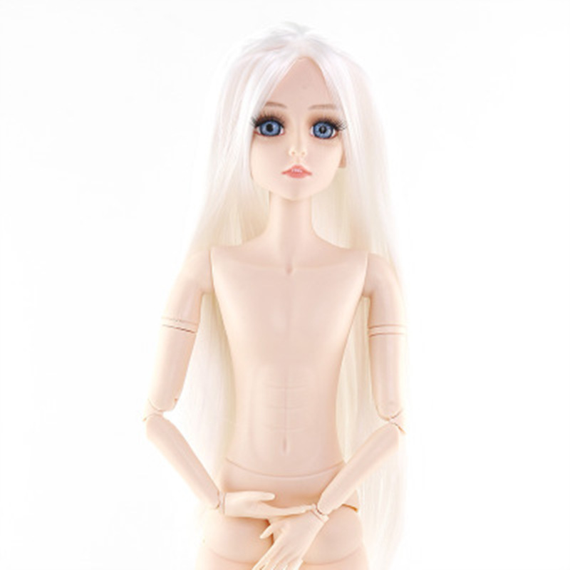 BJD Doll 60cm Princess Naked Doll Body 22 Moveable Jointed 3D Real Eyes General Muscle Skin  Doll Accessories Head Toys For Kids