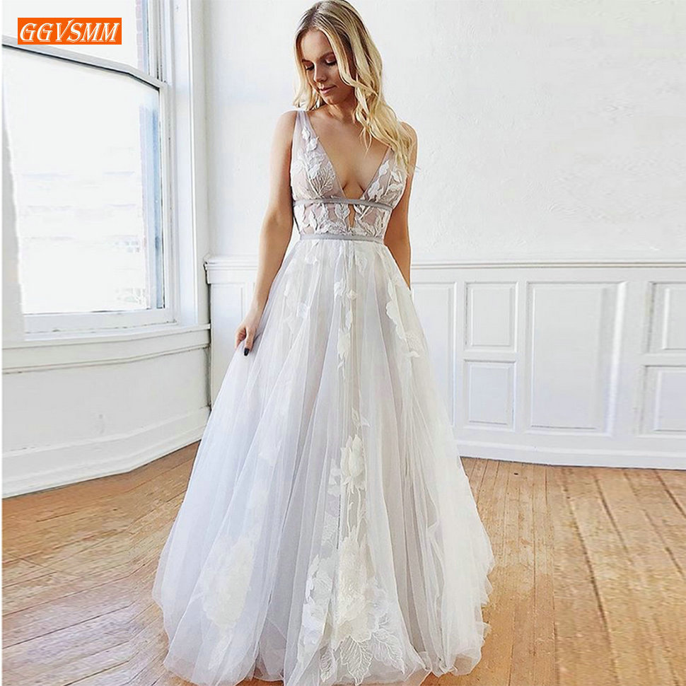 Sexy Boho Ivory Deep V Neck Wedding Gowns Sleeveless Tulle Applique Lace Backless Bride Dresses White Custom Beach Wedding Dress
