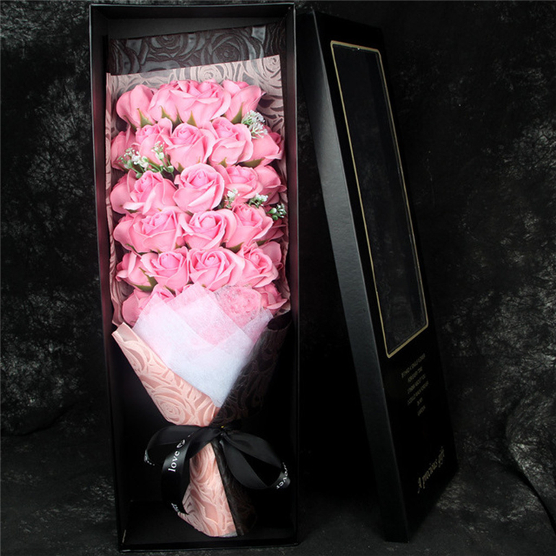 Rose Soap Flower DIY Valentine's Day Gift Rose Box Preserved Rose Flower Soap Bouquet Gift Box Wedding Party Decor - 2