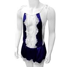 Mens Sissy Lingerie Leotard Lace Male Bodysuit Shiny Satin Sleeveless Nightwear Sleepwear Cross Dresser Costume