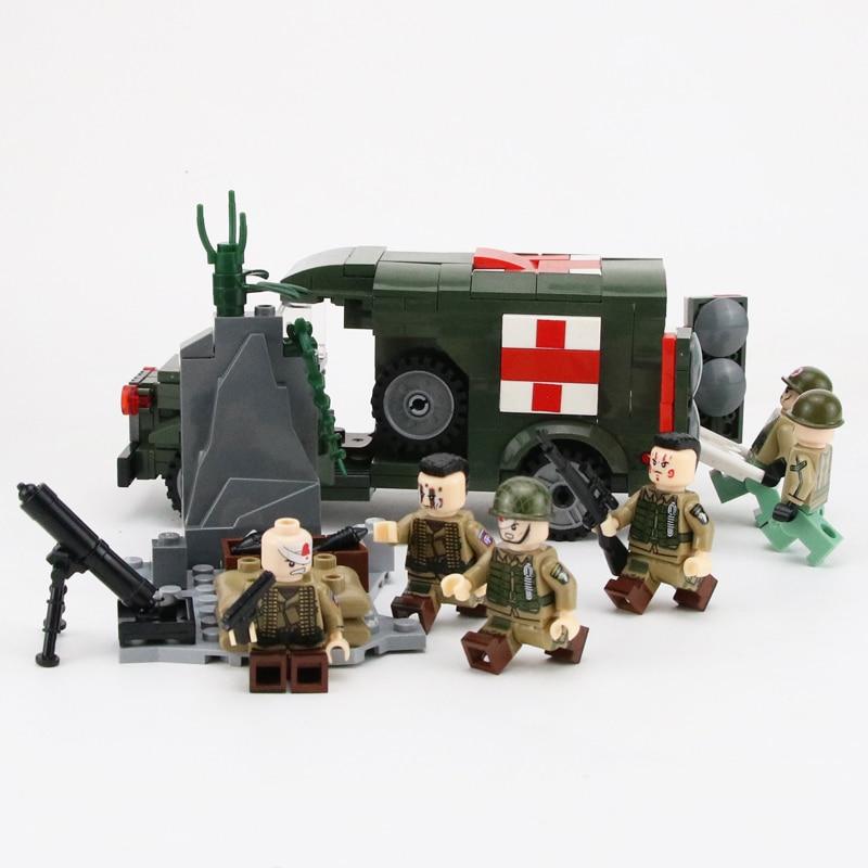 272pcs World War II Kits USA Medical Military Soldiers Ambulance Doctor Toys