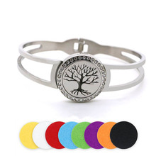BOFEE Perfume Tree Of Life Aromatherapy Bracelet Stainless Steel Locket Essential Oil Diffuser Bangle Hand Chain Jewelry 25mm