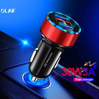 OLAF QC 3 0 samochodowa USB ładowarka do Samsunga a50 S9 szybkie ładowanie 3 0 30W 3A szybkie ładowanie ładowarka samochodowa 2 USB port ładowarki do telefonów komórkowych tanie i dobre opinie RoHS Car Charger For Phone in Car Qualcomm szybkie ładowanie 3 0 Gniazda zapalniczki samochodowej 12-24 V 2 4A Ładowarka samochodowa