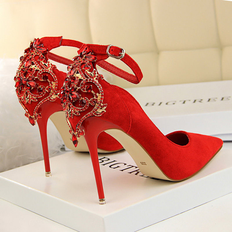 BIGTREE Shoes Extreme High Heels Women Pumps Rhinestone Wedding Shoes Buckle Women Shoes Red Women Heels Stiletto Ladies Shoes