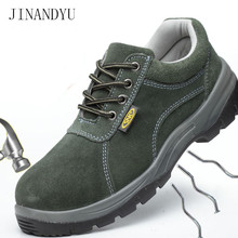 Summer Mens Steel Toe Work Safety Shoes Breathable Genuine Leather Casual Men Boots Protective Footwear