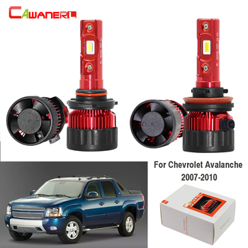 Cawanerl 4 X Car LED Headlight Lamp High Beam Low Beam 9005 HB3 H11 White 12V For Chevrolet Avalanche 2007 2008 2009 2010