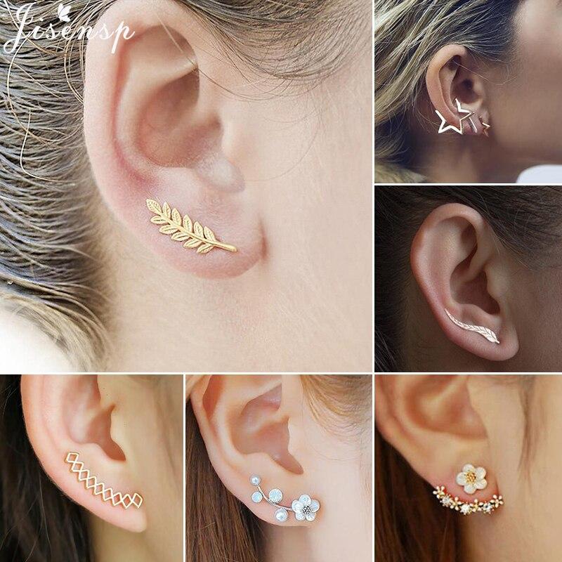 Jisensp Böhmischen Vintage Ohrringe Schmuck Geometrische Perle Blume Stud Ohrringe für Frauen Punk Blatt Earing Ohr Kletterer brincos