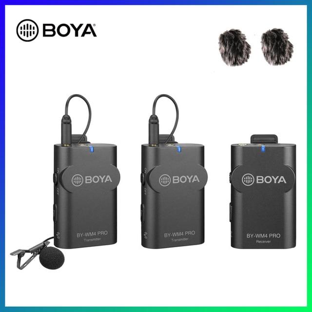 BOYA BY WM4 Pro K2 K1 téléphone sans fil Lav Microphone vidéo Audio Lavalier micro pour appareil photo reflex numérique DV Smartphone Vlog Streaming en direct