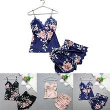 Fashion Flower Sexy Satin Sleepwear For Women With Chest Pad Women Sleep