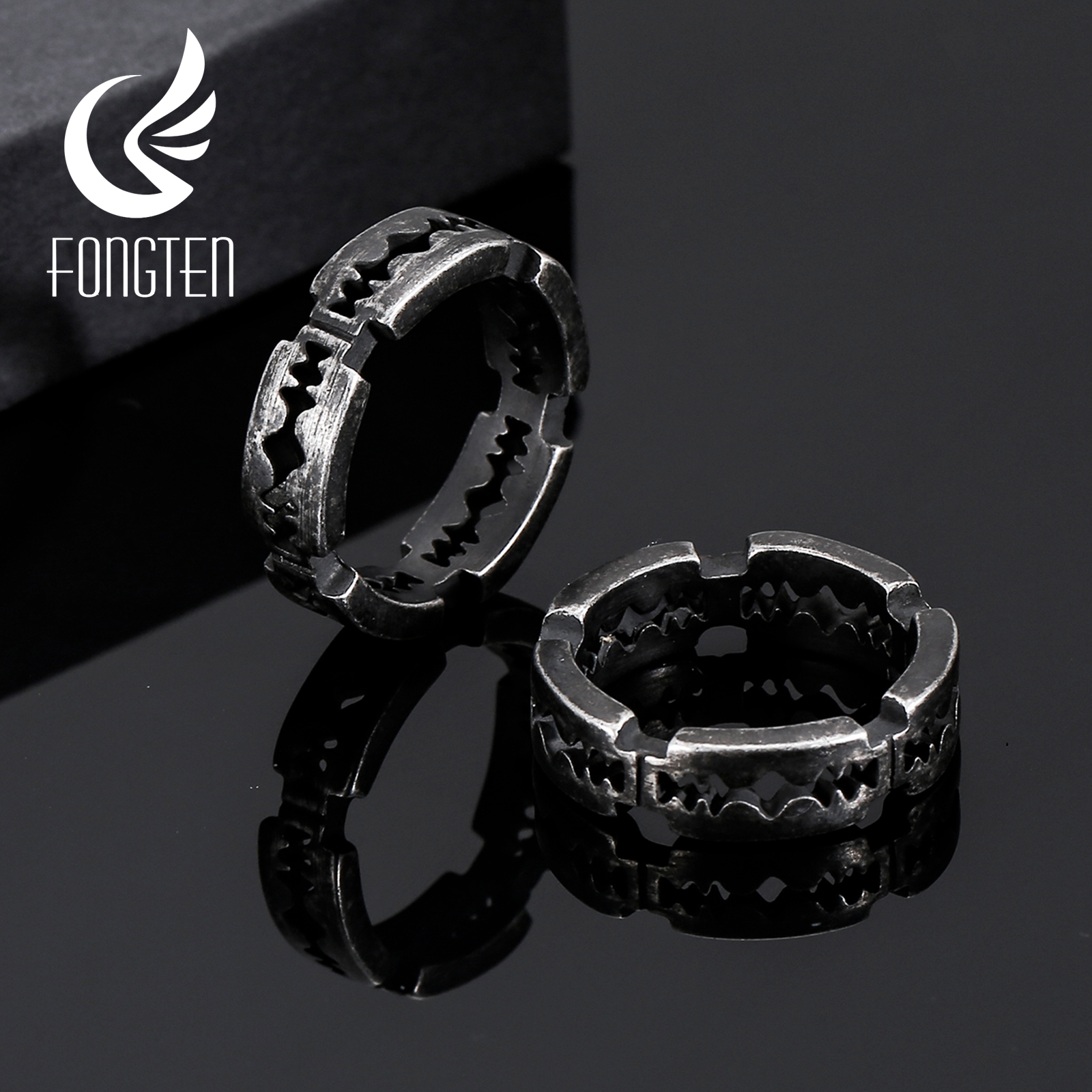 Fongten Gothic Style Blade Shape Ring Black Stainless Steel Vintage Viking Men Hippie Big Rings 2020 Fashion Jewelry(China)