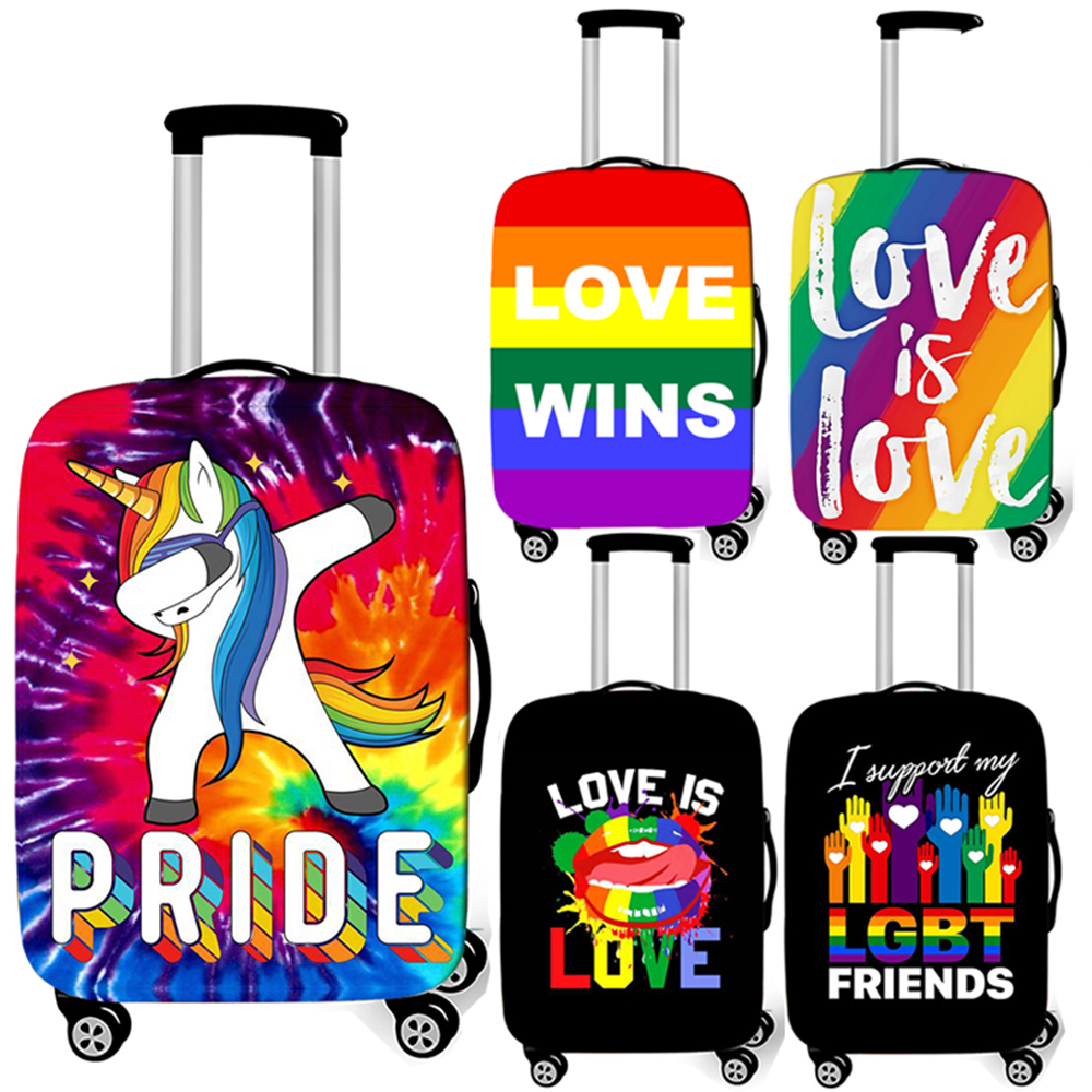Pride Lgbt Gay Lesbian Rainbow Luggage Cover Travel Accessories Love Is Love Wins Anti-dust Suicase Cover Trolley Case Covers