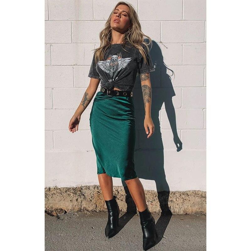 Women Elegant Skirt Ladies Glossy Satin Skirt Fashion Party Office Skirts Solid High Waist Skirts Emerald юбка с высокой талией|Skirts| - AliExpress