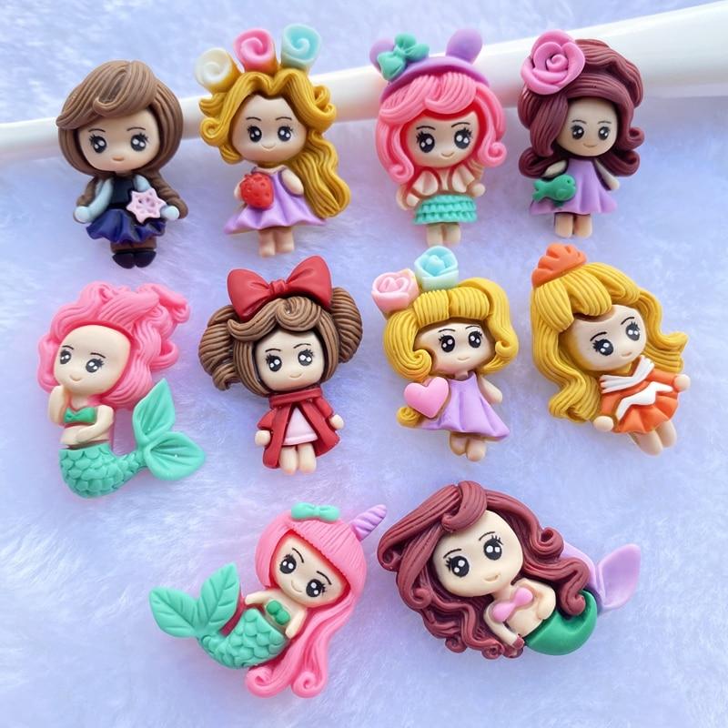 10Pcs Resin Lovely Mixed Mermaid/Little Girl Princess Flatback Cabochon Scrapbook Kawaii DIY Embellishments Accessories D80