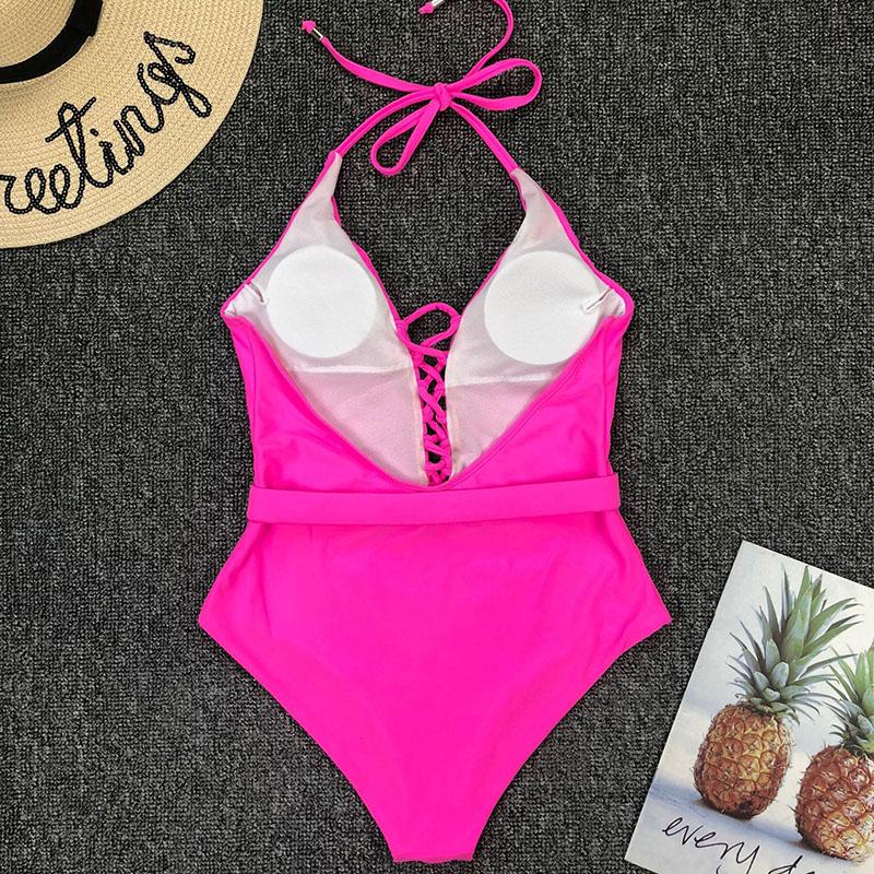 Одноцветный купальный костюм с бретельками, модель 2020 года, сексуальный купальник для женщин, с поясом, с высокой посадкой, пляжная одежда, u-... 67