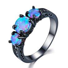 FDLK – bague en opale de feu bleue, noire, or, breloque de fête de mariage, bijoux Vintage de haute qualité pour femmes