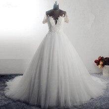 RSW1589 נסיכת כדור שמלה מתוק מחשוף שמלת כלה עם שרוול קצר